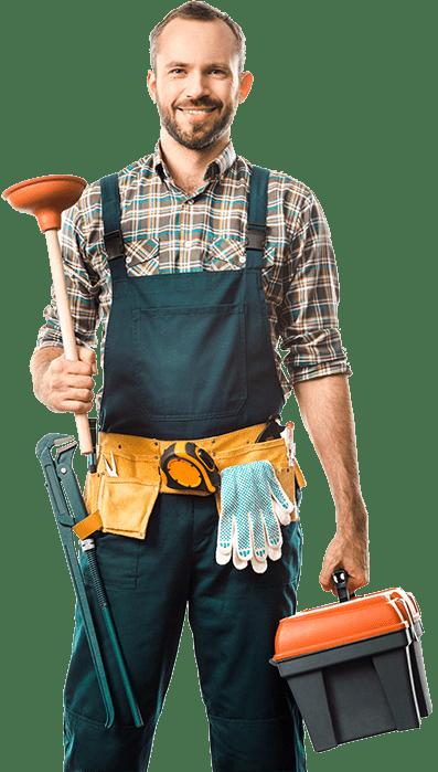 plumber with plumbing tools